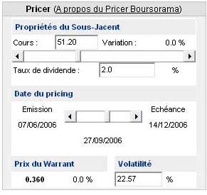 Pricer d'un warrant